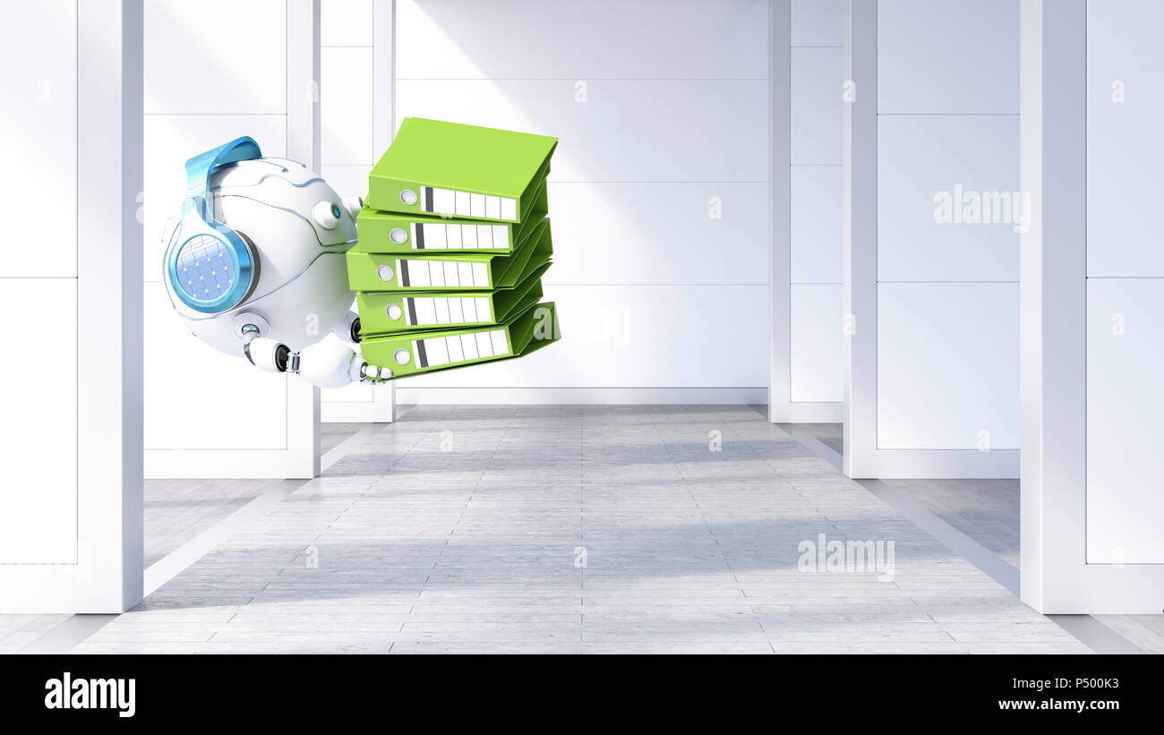 Robotic drone carrying file stack, 3d rendering - Stock Image