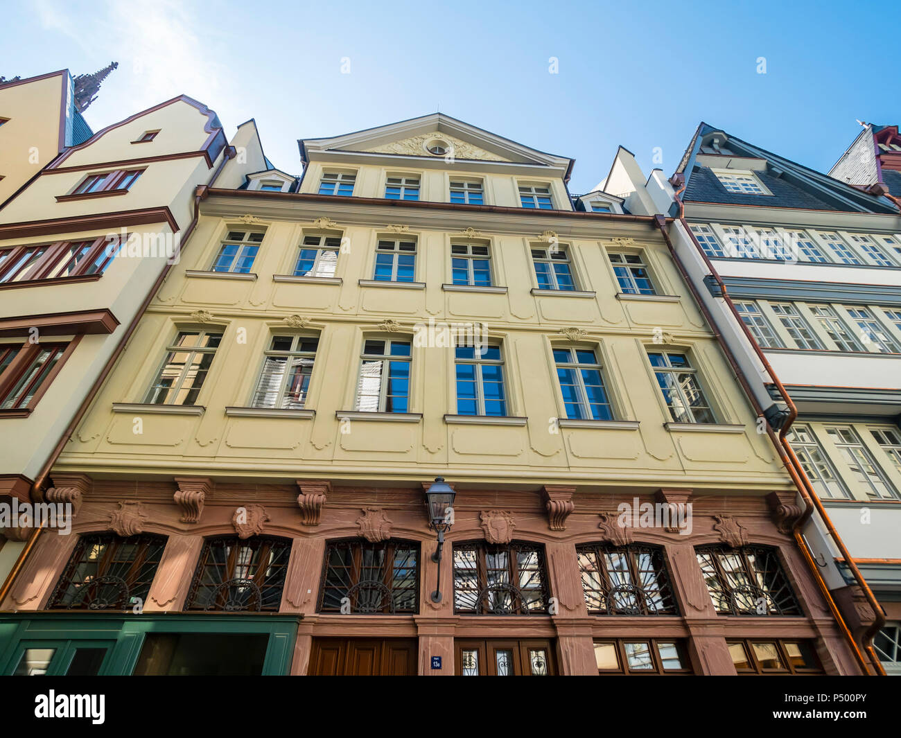 Germany, Hesse, Frankfurt, Old town, reconstructions of houses, replica of Gruene Linde - Stock Image
