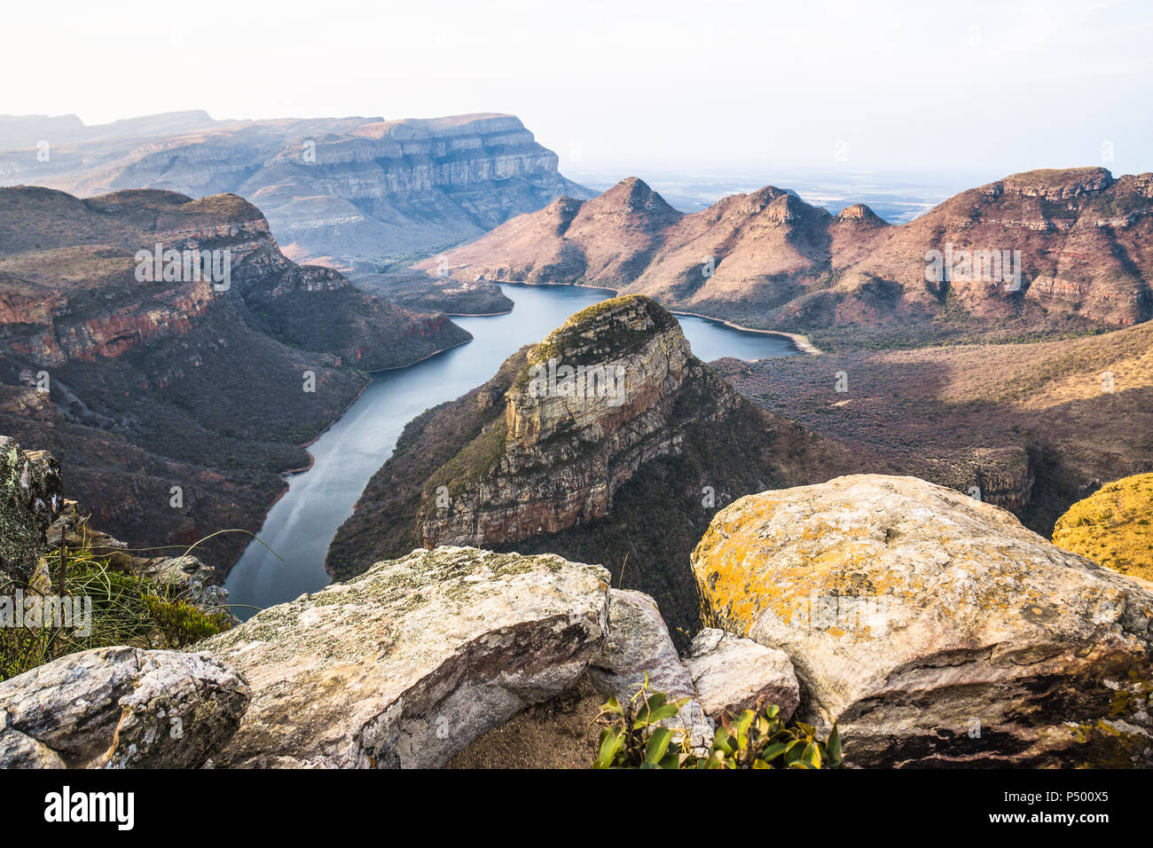 Africa, South Africa, Mpumalanga, Panorama Route, Blyde River Canyon Nature Reserve, Three Rondavels - Stock Image