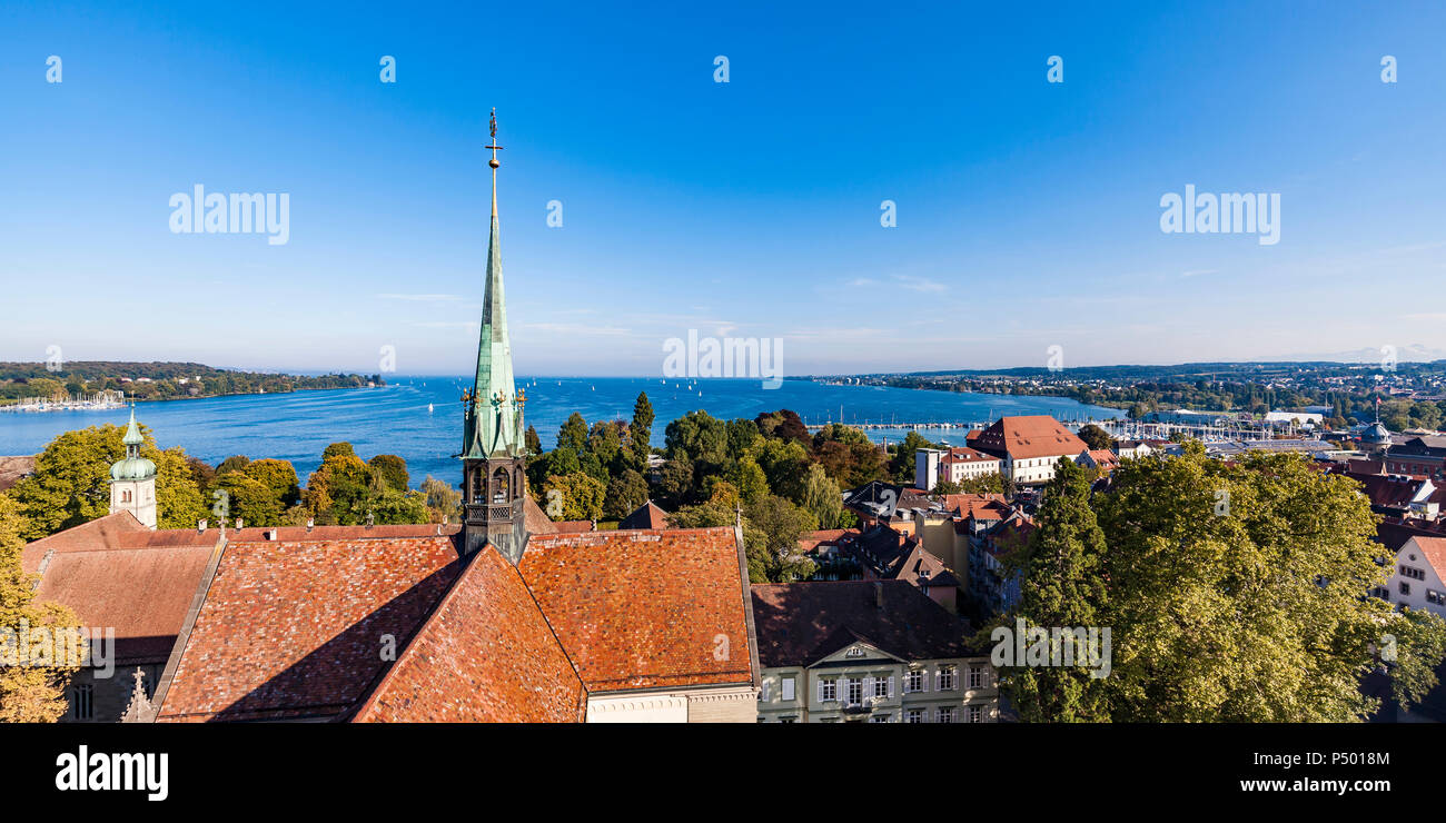 Germany, view to Lake Constance with spire of Constance Minster in the foreground - Stock Image