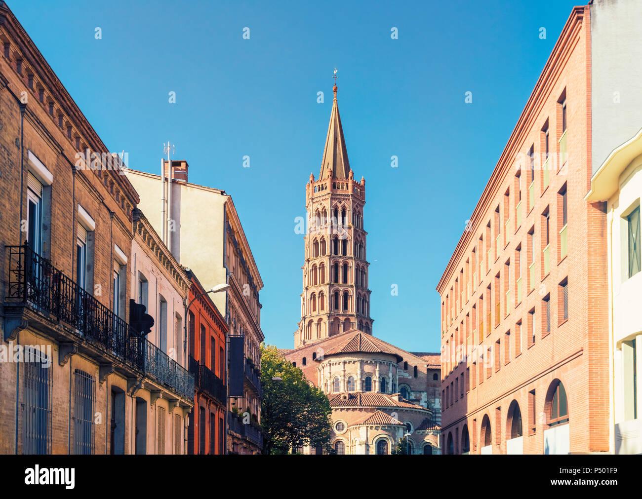 France, Haute-Garonne, Toulouse, Old town, Basilica of Saint Sernin - Stock Image