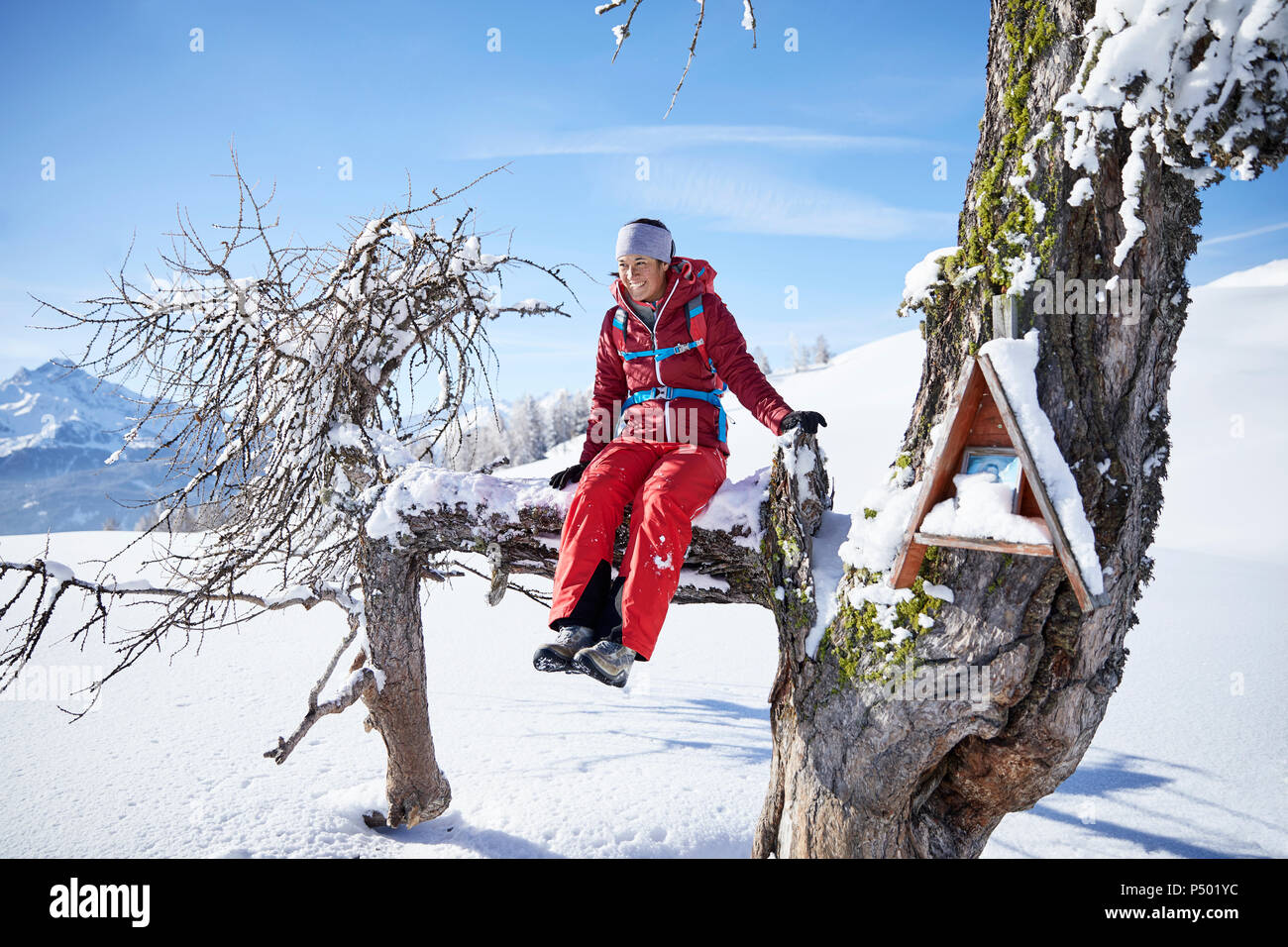 Austria, Tyrol, female hiker sitting on branch Stock Photo