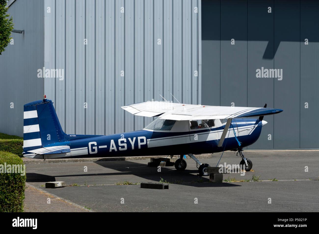 Cessna 150E at Turweston Aerodrome, Buckinghamshire, UK (G-ASYP) - Stock Image