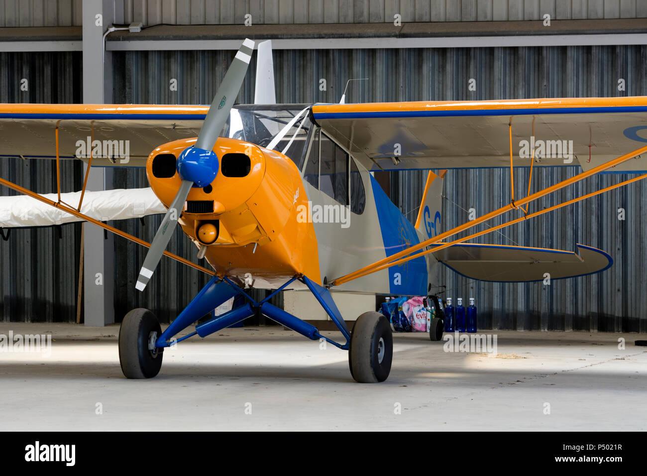 Piper PA-18-150 Super Cub at Turweston Aerodrome, Buckinghamshire, UK (G-CIIC) - Stock Image