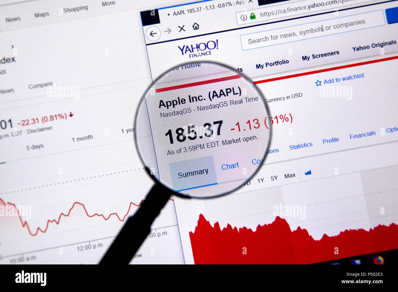 MONTREAL, CANADA - JUNE 22, 2018: Apple Inc AAPL ticker with charts under magnifying glass on Yahoo Finance. - Stock Image