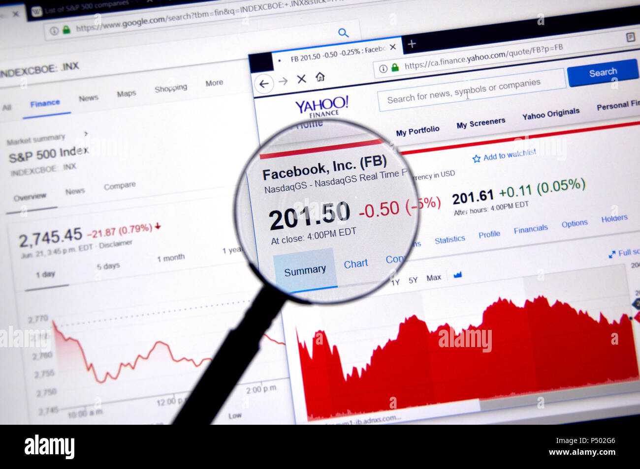 MONTREAL, CANADA - JUNE 22, 2018: Facebook FB ticker with shares price and charts under magnifying glass on Yahoo Finance. - Stock Image