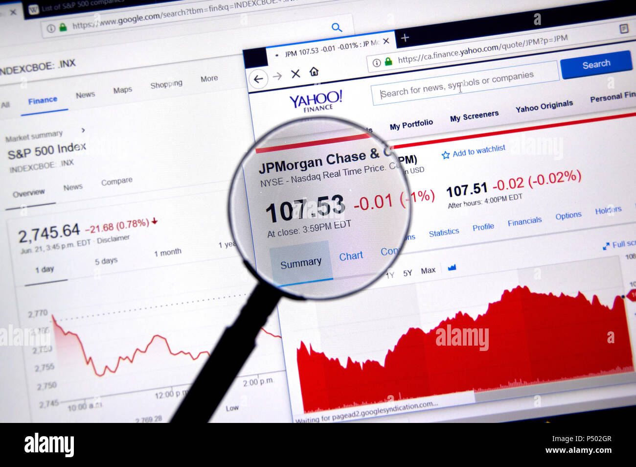 MONTREAL, CANADA - JUNE 22, 2018: JPMorgand Chase ticker with shares price and charts under magnifying glass on Yahoo Finance. - Stock Image