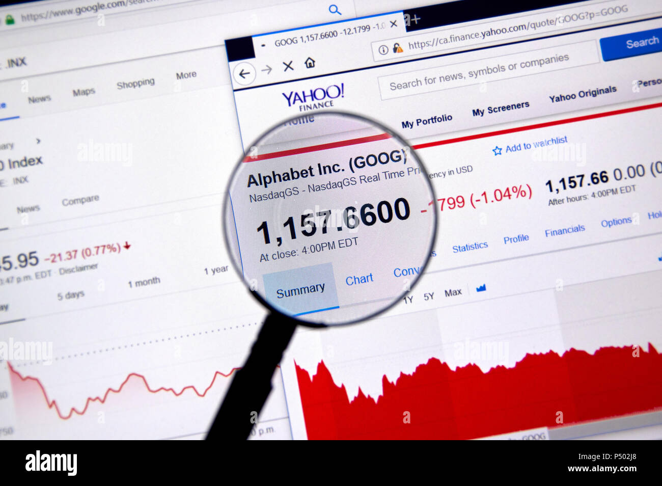 MONTREAL, CANADA - JUNE 22, 2018: Alphabet Inc GOOG ticker with shares price and charts under magnifying glass on Yahoo Finance. - Stock Image