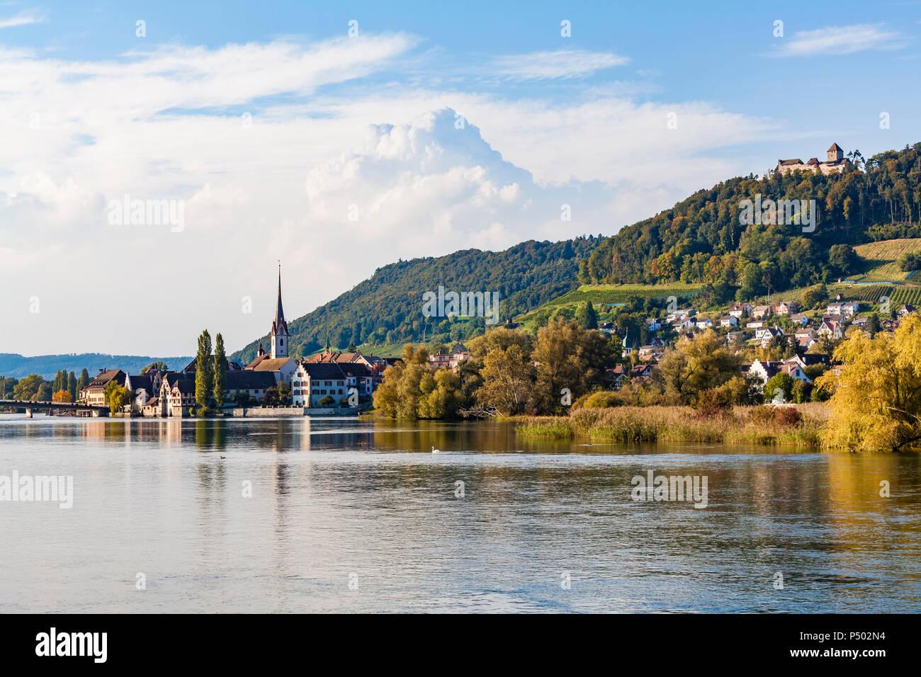 Switzerland, Canton of Schaffhausen, Stein am Rhein, Rhine river, cityscape with Hohenklingen Castle Stock Photo