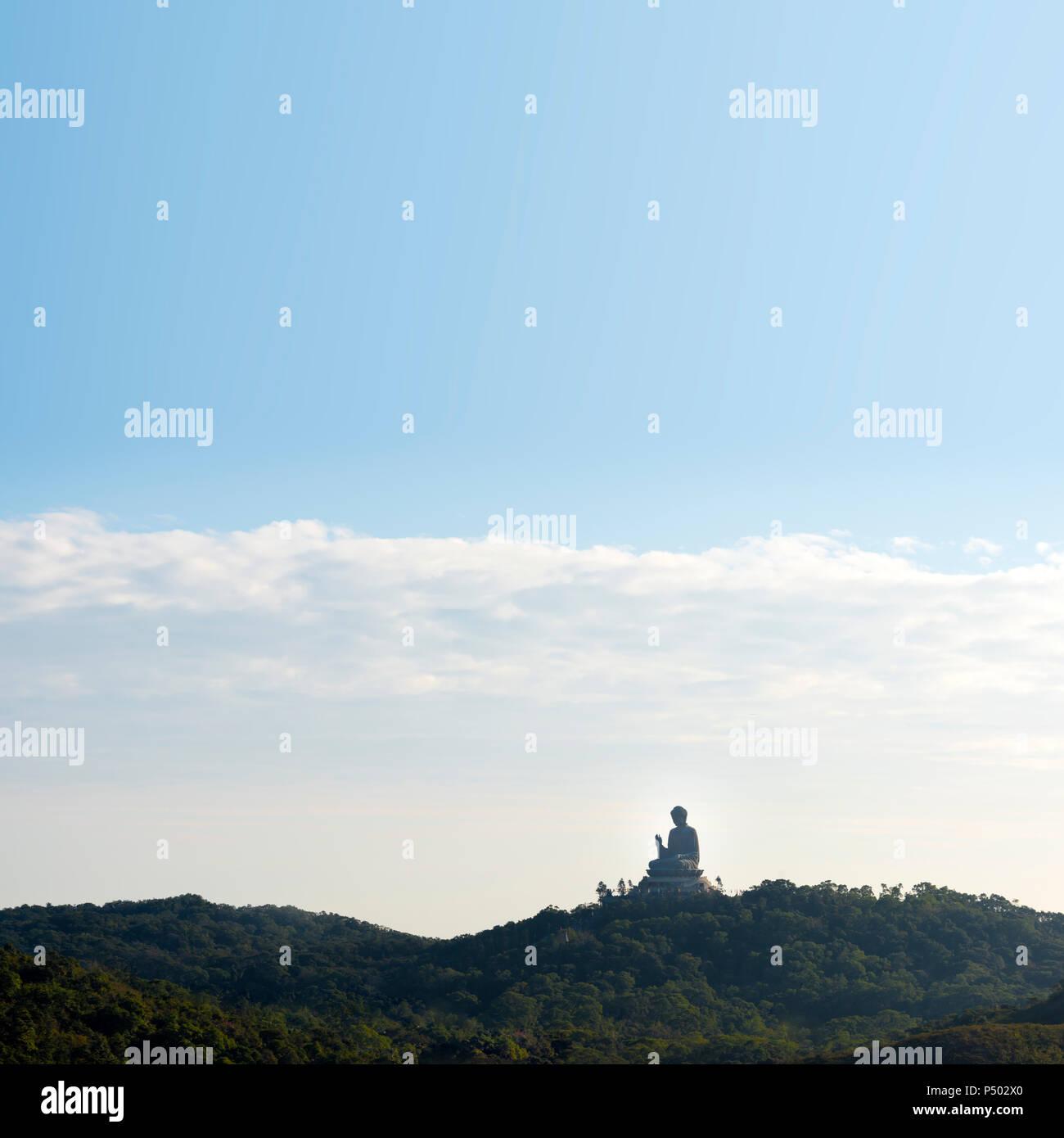 China, Hong Kong, Lantau Island, Ngong Ping, view to Tian Tan Buddha - Stock Image