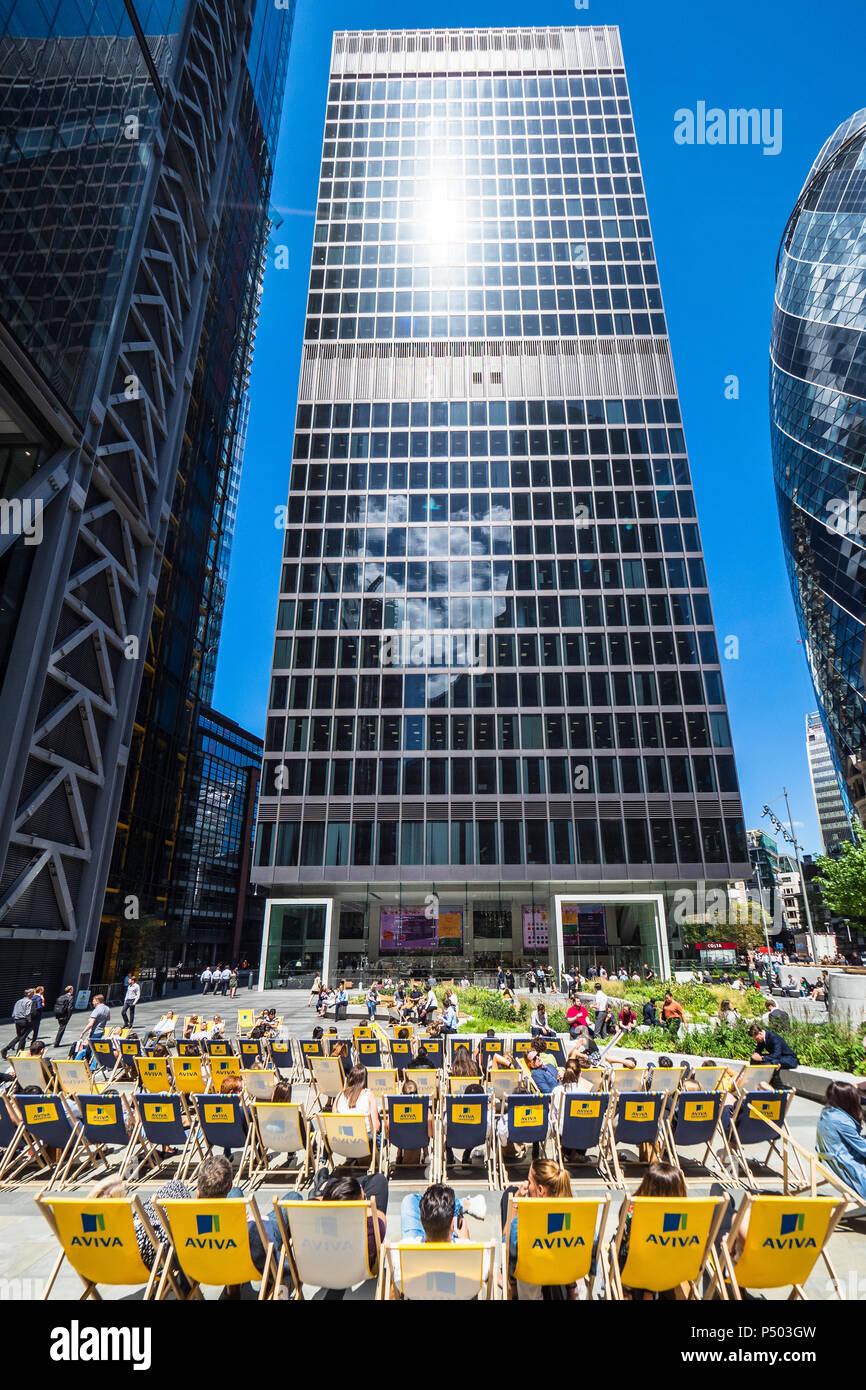 Aviva London - Aviva sponsored deck chairs outside the Aviva St Helen's building, formerly the Aviva Tower, in St Mary Axe in the City of London. - Stock Image