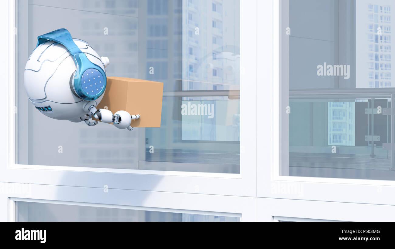 Robotic drone delivering cardboard box, 3d rendering - Stock Image