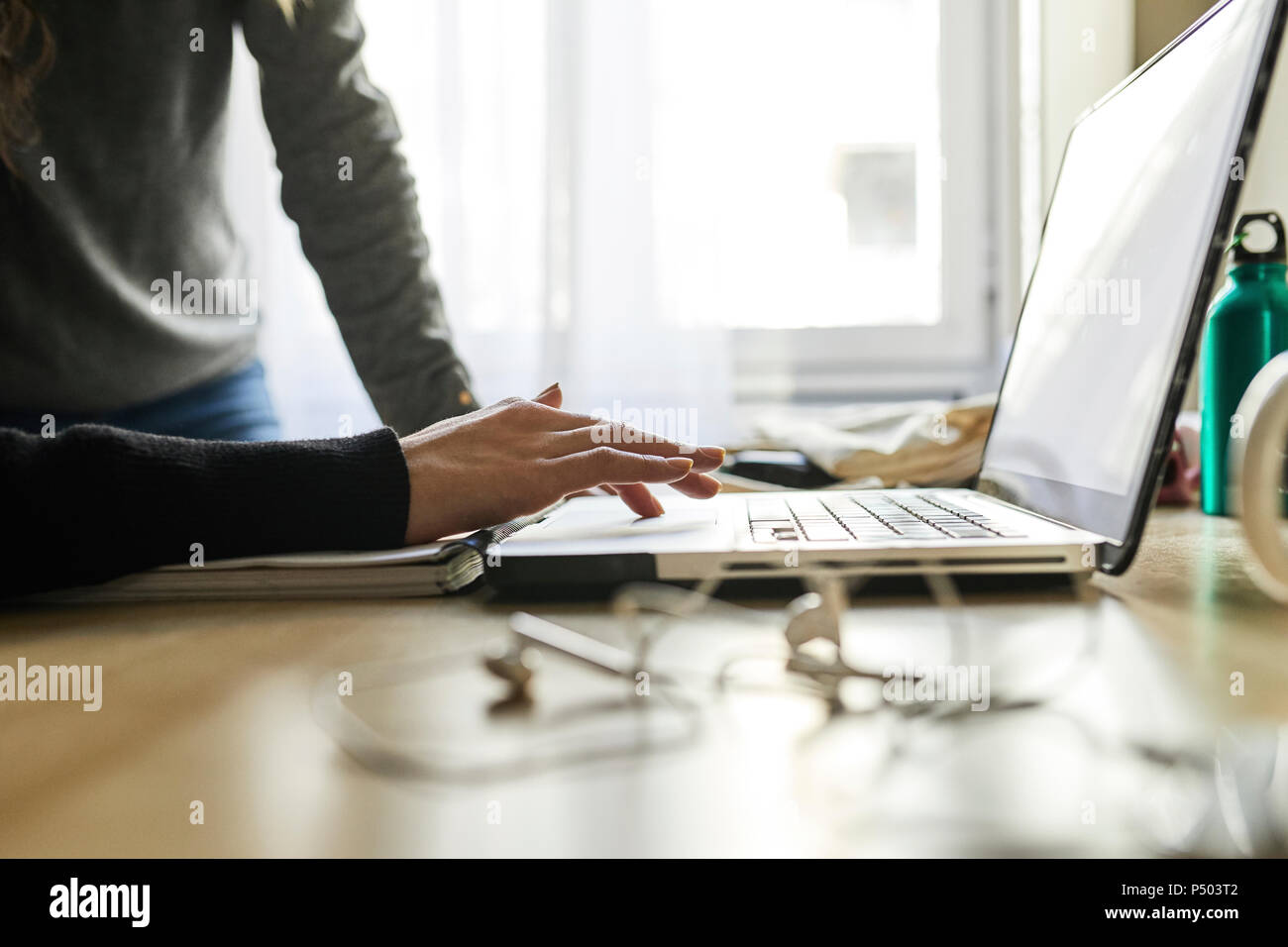 Close-up of two women using laptop at desk at home Stock Photo