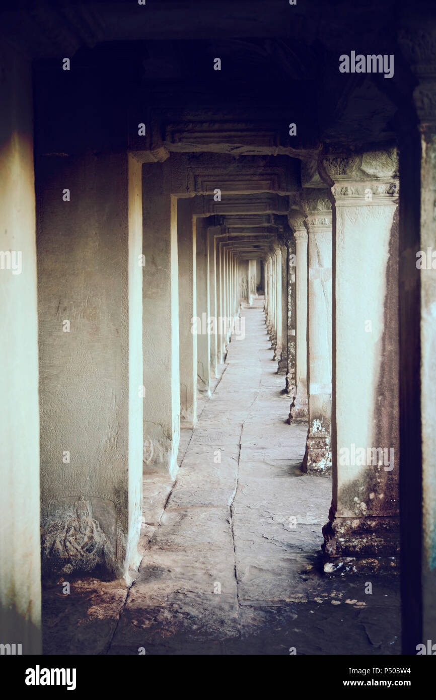 Passage in Temple - Cambodia - Stock Image