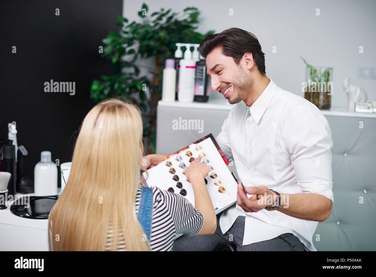 Woman Selecting Color Hair Dye Stock Photos Woman Selecting Color