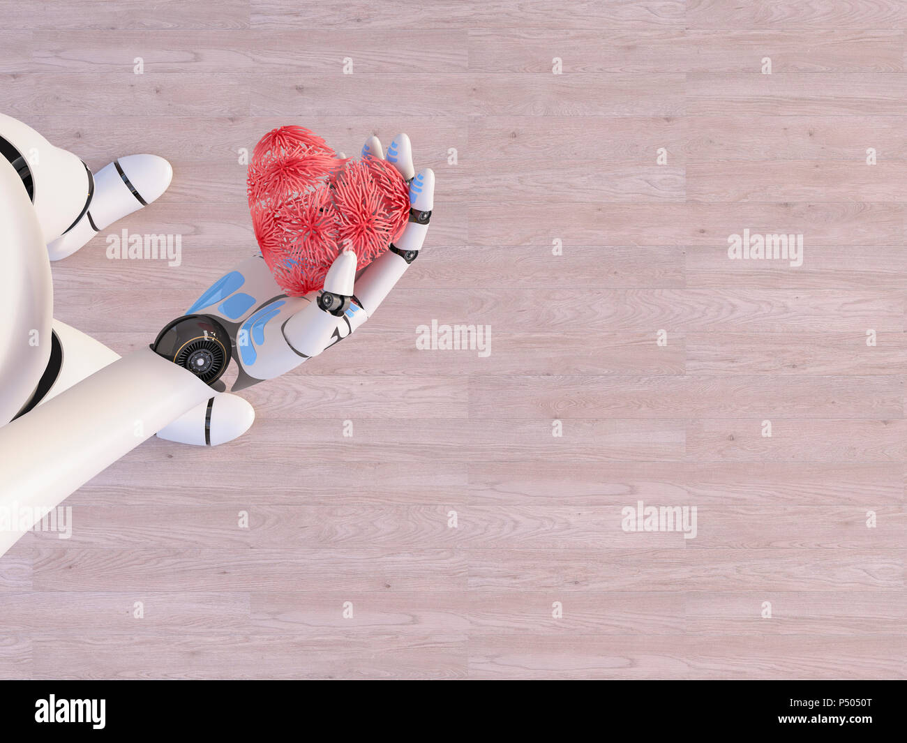 Robot holding heart in his hand, 3d rendering - Stock Image