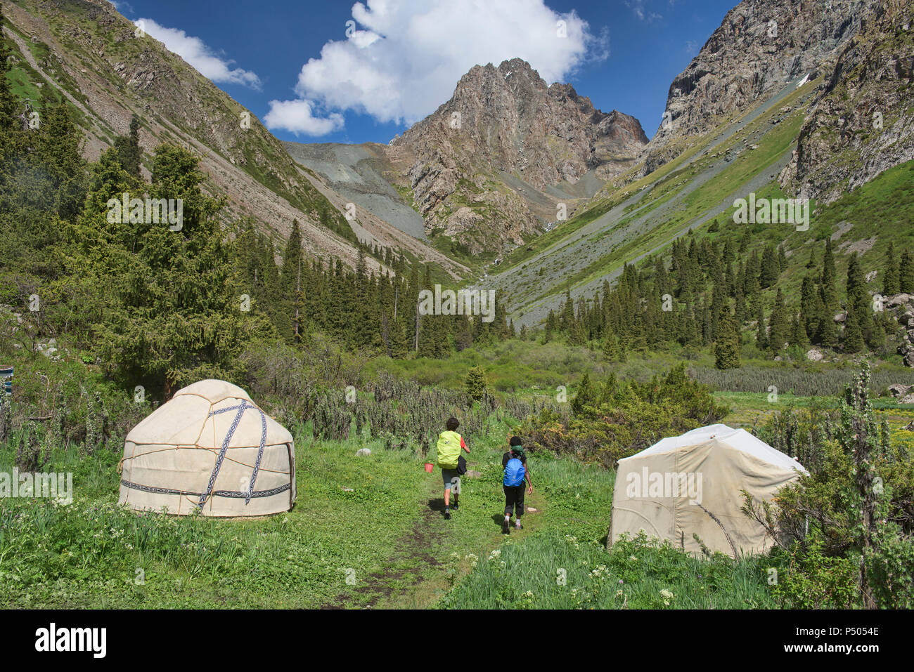 Yurt camp in the Tian Shan Mountains, Karakol, Kyrgyzstan - Stock Image