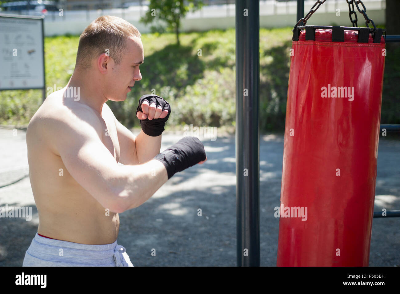 Athletic young man engaged in boxing with punching bag in summer park - Stock Image