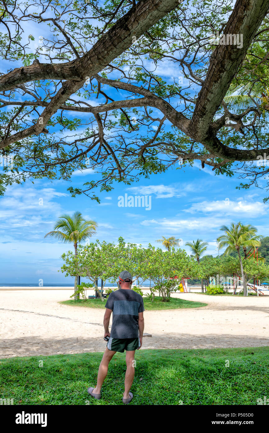 Man stands in the shade gazing at a beach in Borneo, Malaysia - Stock Image