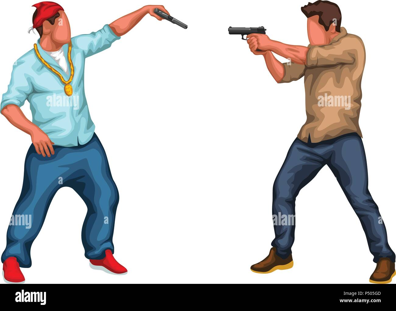 gangster vs police - Stock Vector