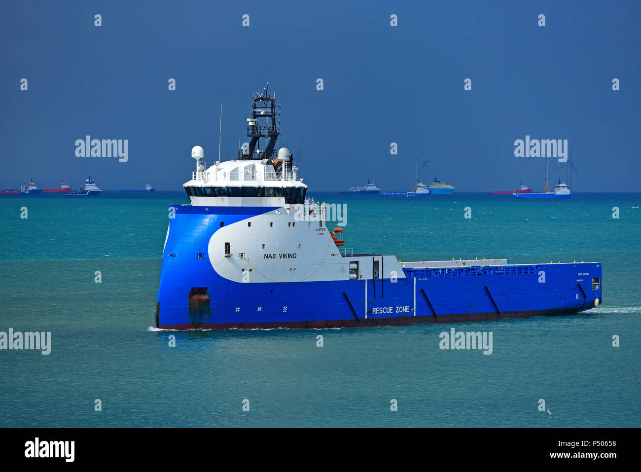 The offshore Supply Ship approaching Aberdeen from the oil fields of the North sea - Stock Image