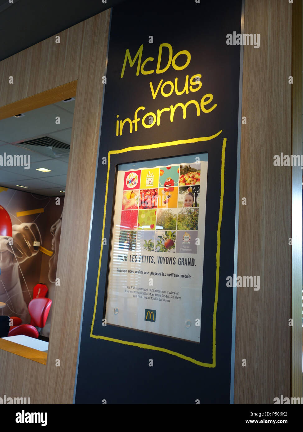 Information boards for the public customers at McDonald's Takeaway in Saint-Étienne-du-Rouvray, France - Stock Image