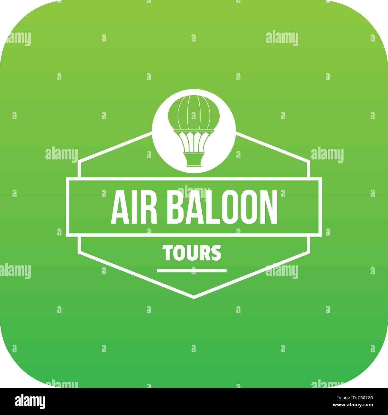 Tours air balloon icon green vector - Stock Vector