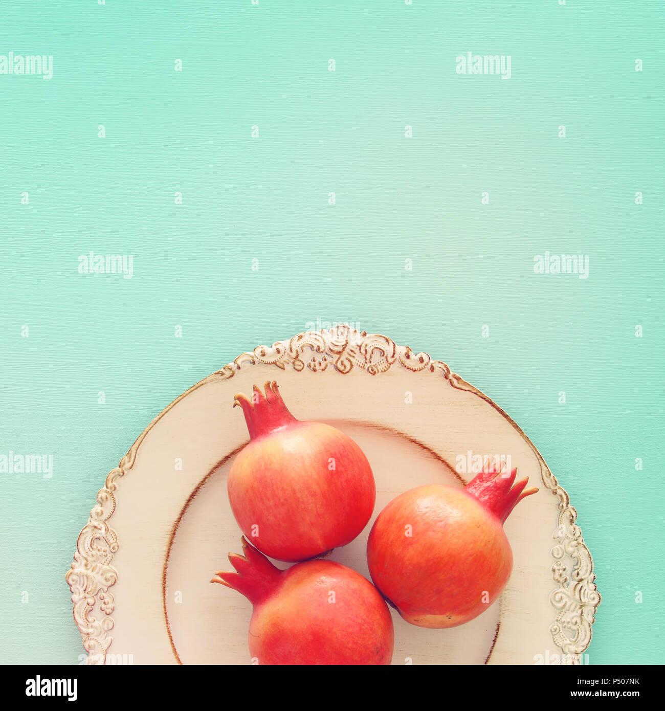 Rosh Hashanah Jewish New Year Holiday Concept Pomegranate