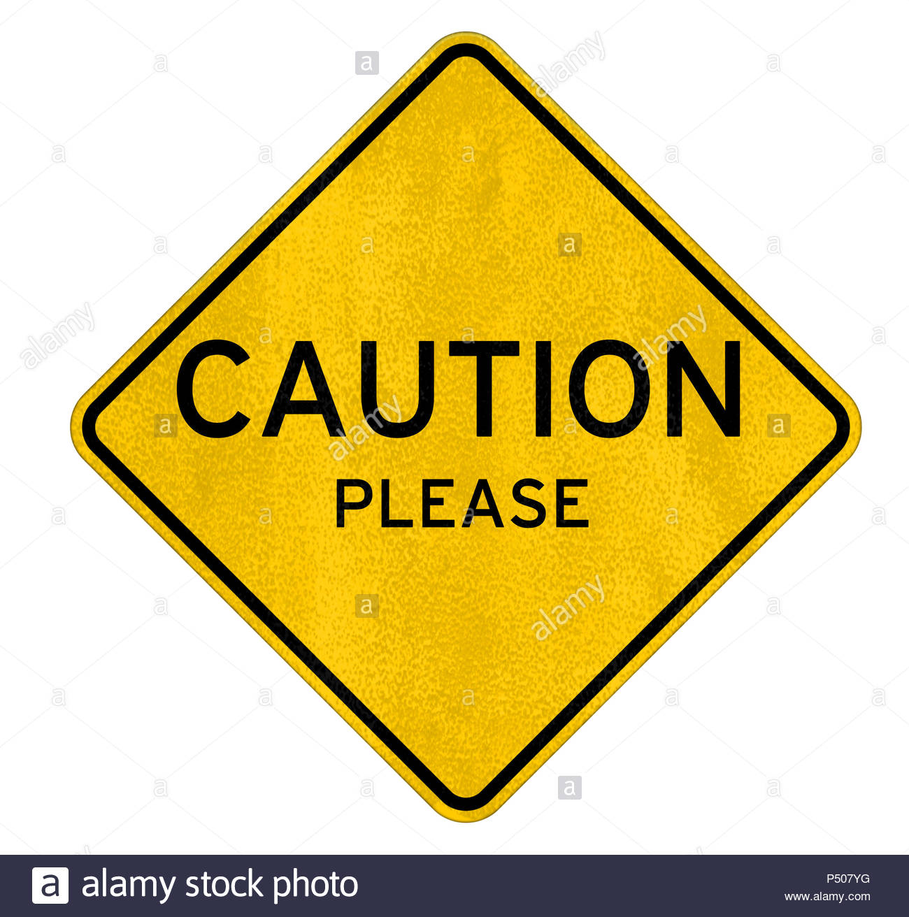 Caution please - road sign warning - Stock Image
