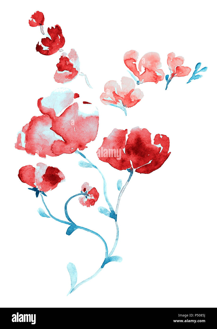 Purple Watercolor Flowers Stock Photos & Purple Watercolor Flowers ...