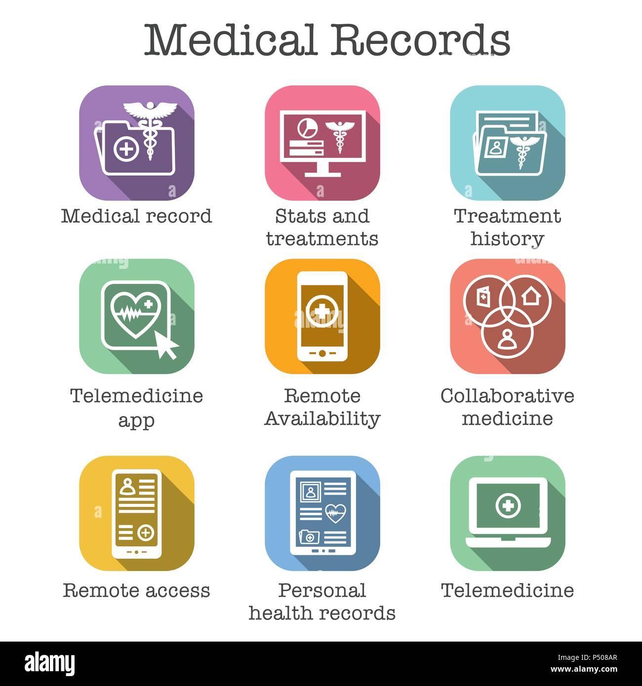 Telemedicine and Health Records Icon Set w Caduceus, file folders, computers, etc - Stock Image