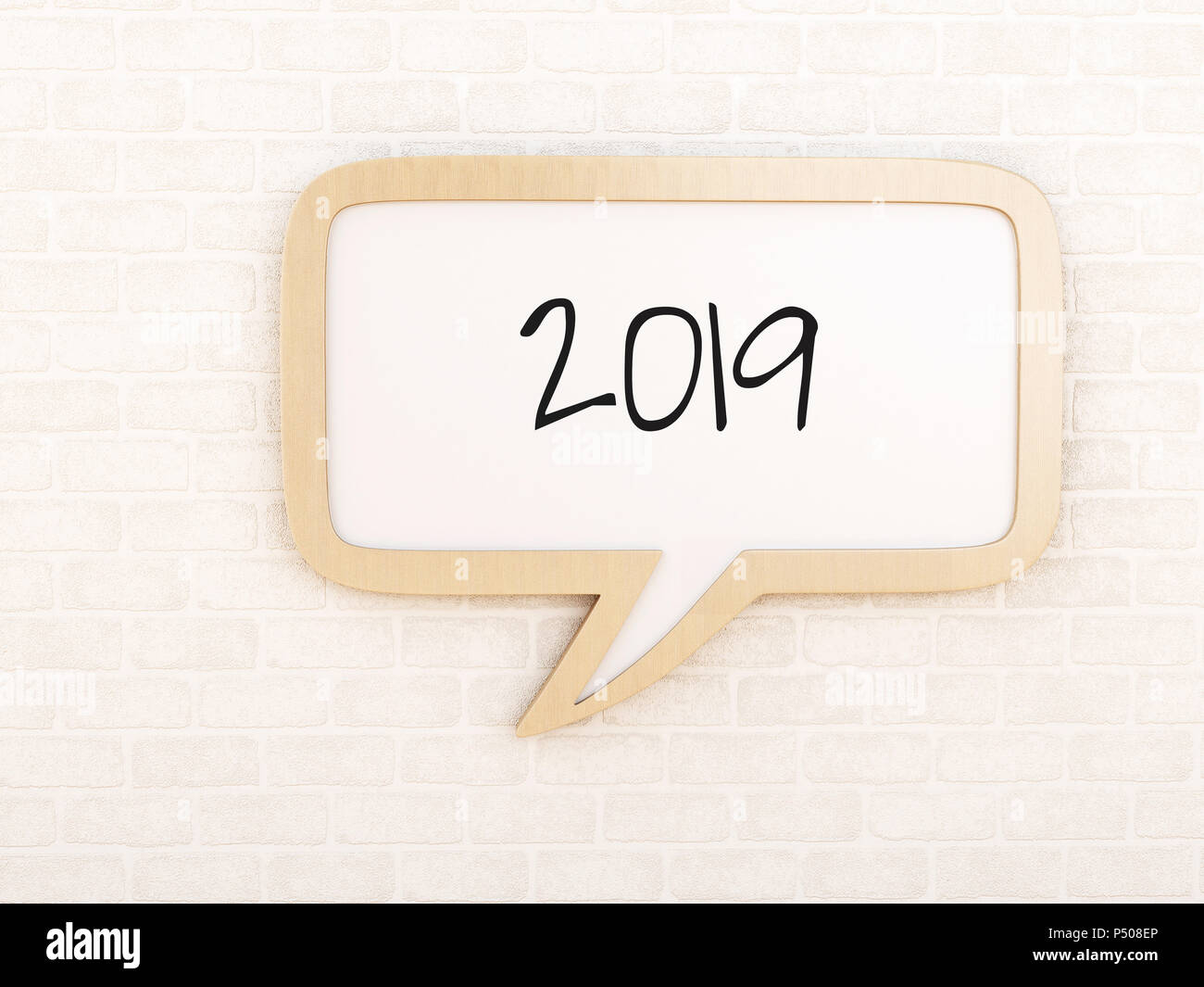 3d illustration. Speech bubble with 2019 against brick wall. New ...