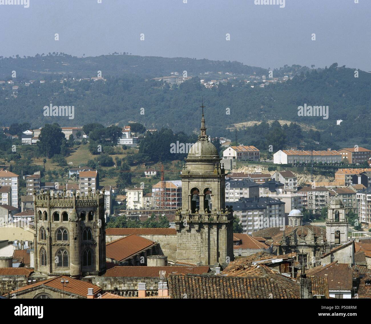 Spain. Galicia. Orense. Dome (15th century) and campanile of the cathedral from the St. Francis convent. Stock Photo