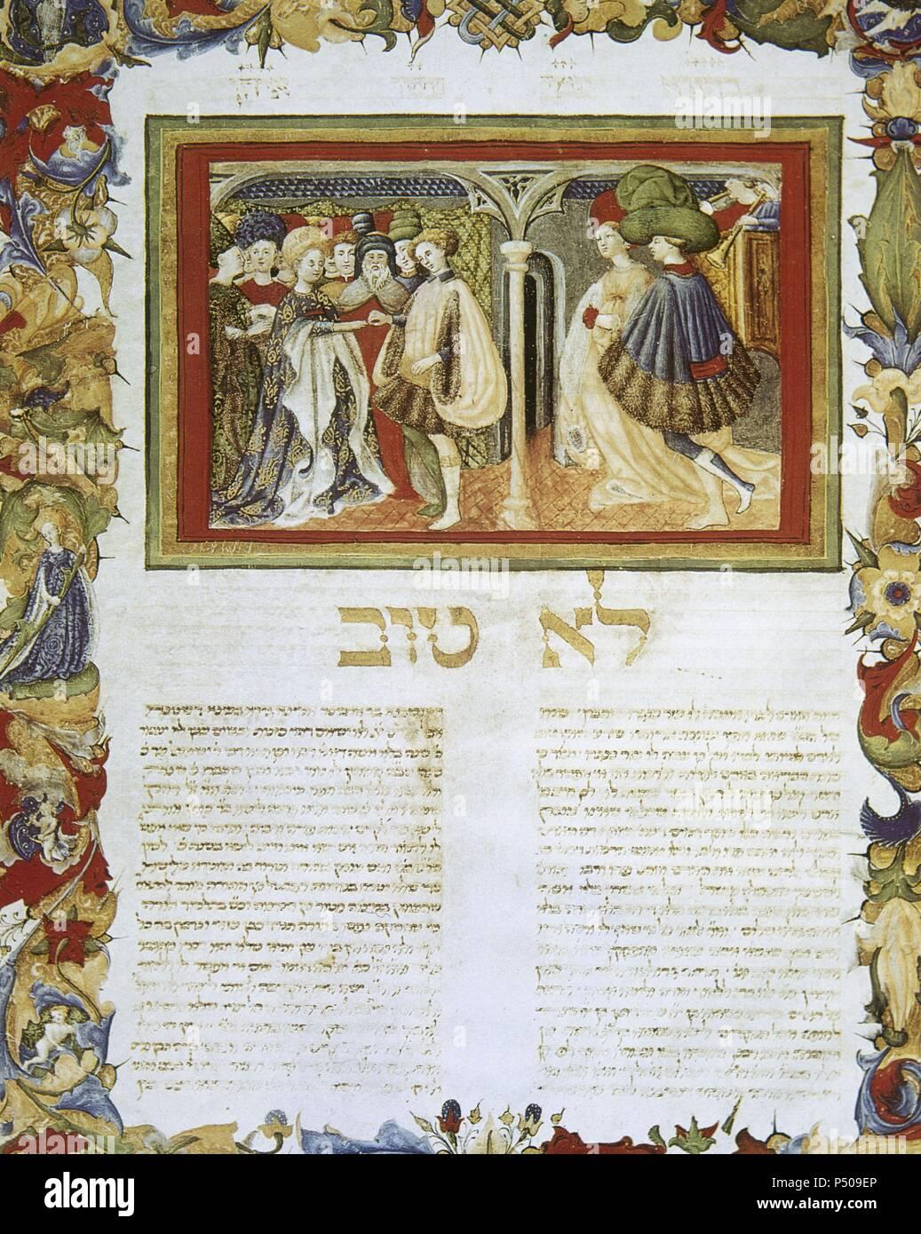 Arba'ah Turim or Tur. Halakhic code by Yaakov ben Asher (1270-1340). Hebrew. Miniature. Hebrew marriage scene. 1436. Folio 220v. Vatican Apostolic Library. Stock Photo