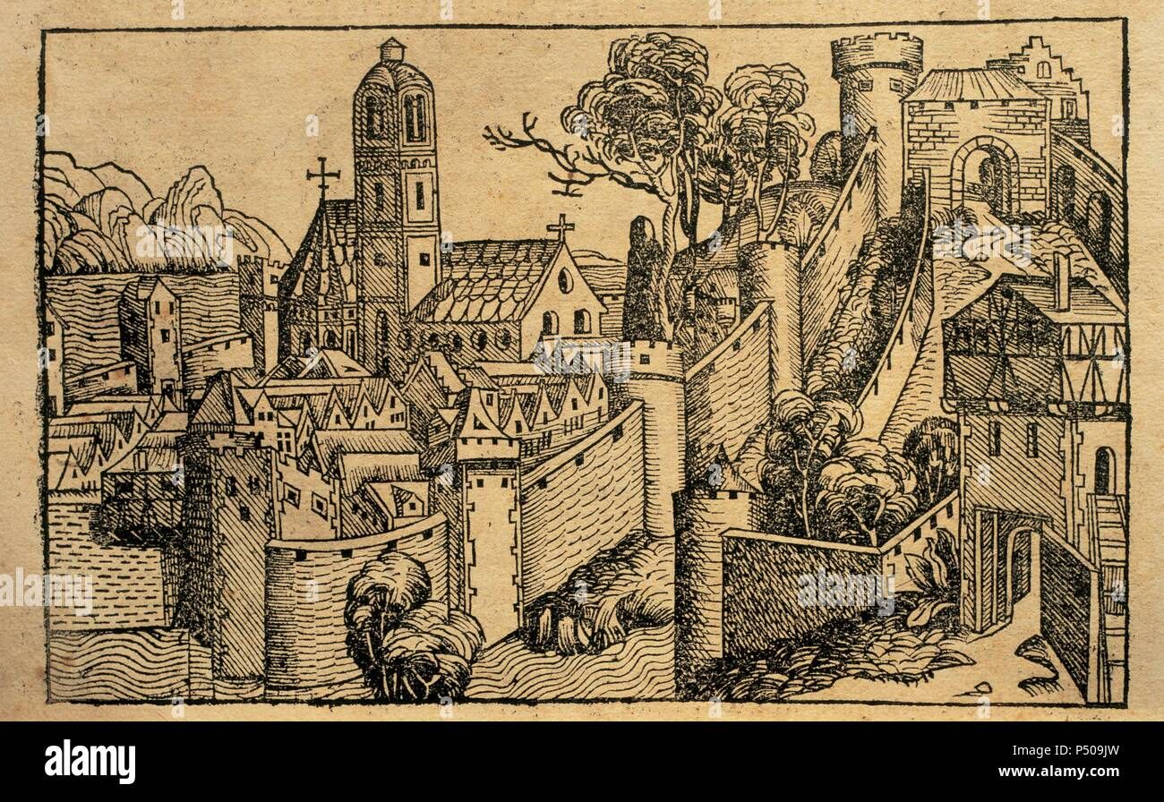 Liber chronicarum by Hartmann Schedel. Engraving depicting the city of Alexandria. 15th century. Latin edition. Episcopal Library. Barcelona. Spain. - Stock Image