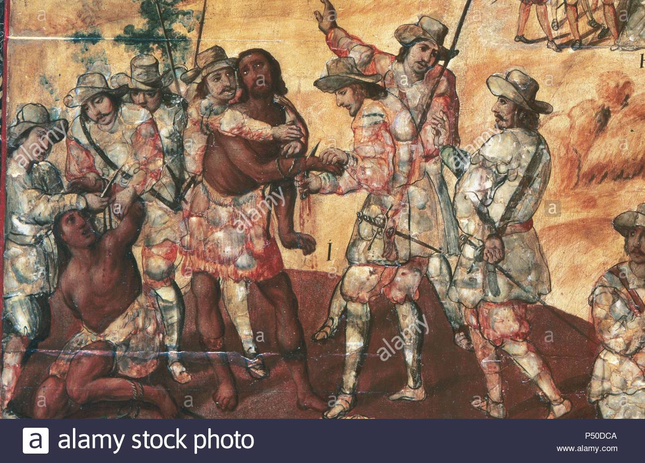 Conquest of Mexico (1519). Conquerors cutting the hands of two spies in  Xicotencatl. Conching by Miguel Gonza´lez (1698). Detail. Museum of  America. Madrid.