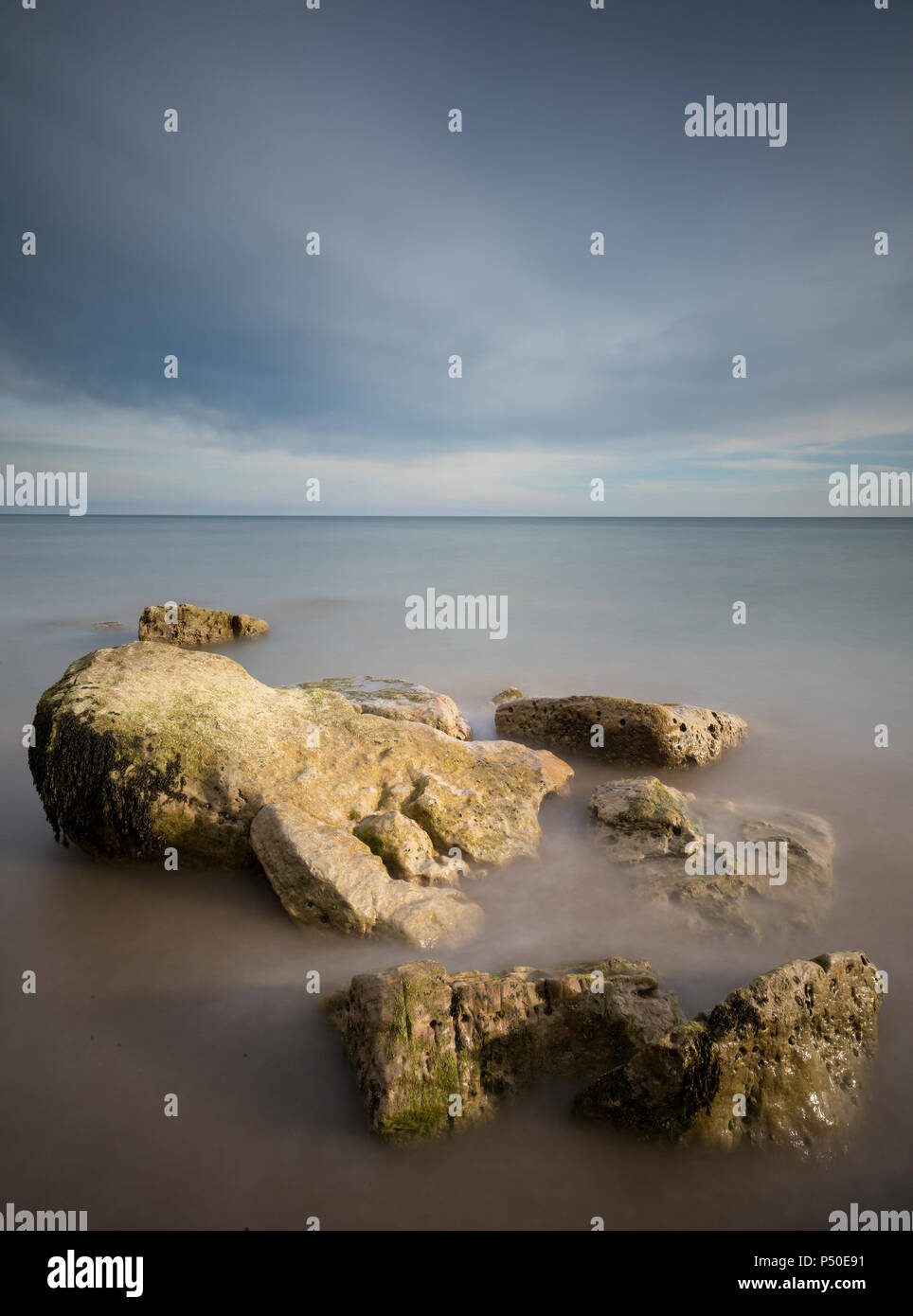 a beautiful and calming generic seascape on the isle of wight. - Stock Image
