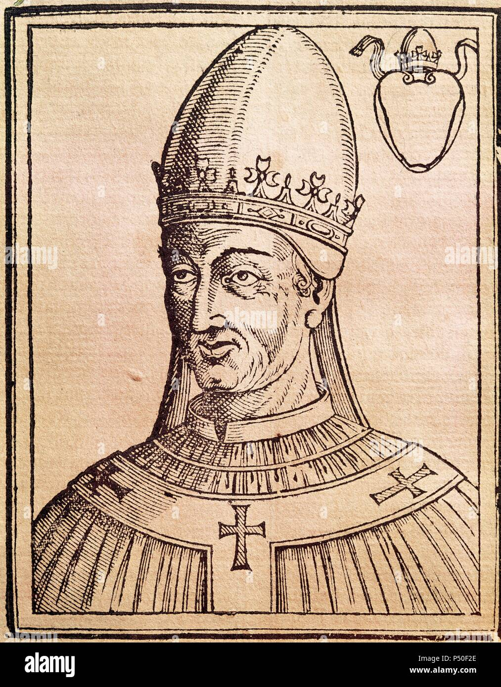Pope Vigilius (c. 500-555). Roman pope (537-555), elected in 536. Portrait. Engraving. National Library. Rome. Italy. - Stock Image