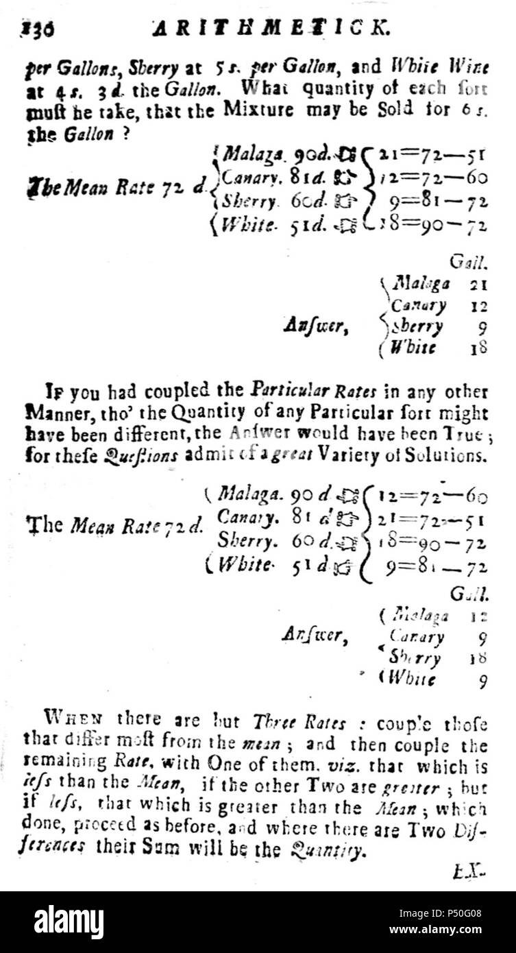 1729 Arithmetick p130 Kneeland Green Boston Stock Photo