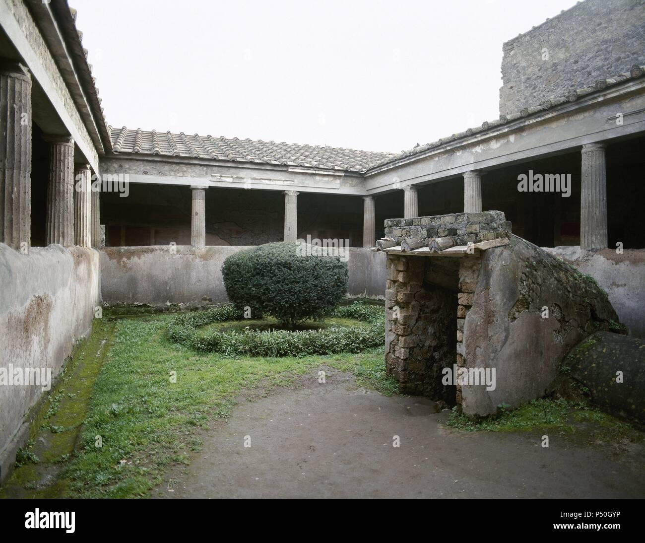 Pompeii. Ancient Roman city. Villa of the Mysteries. Courtyard. Campania, Italy. - Stock Image