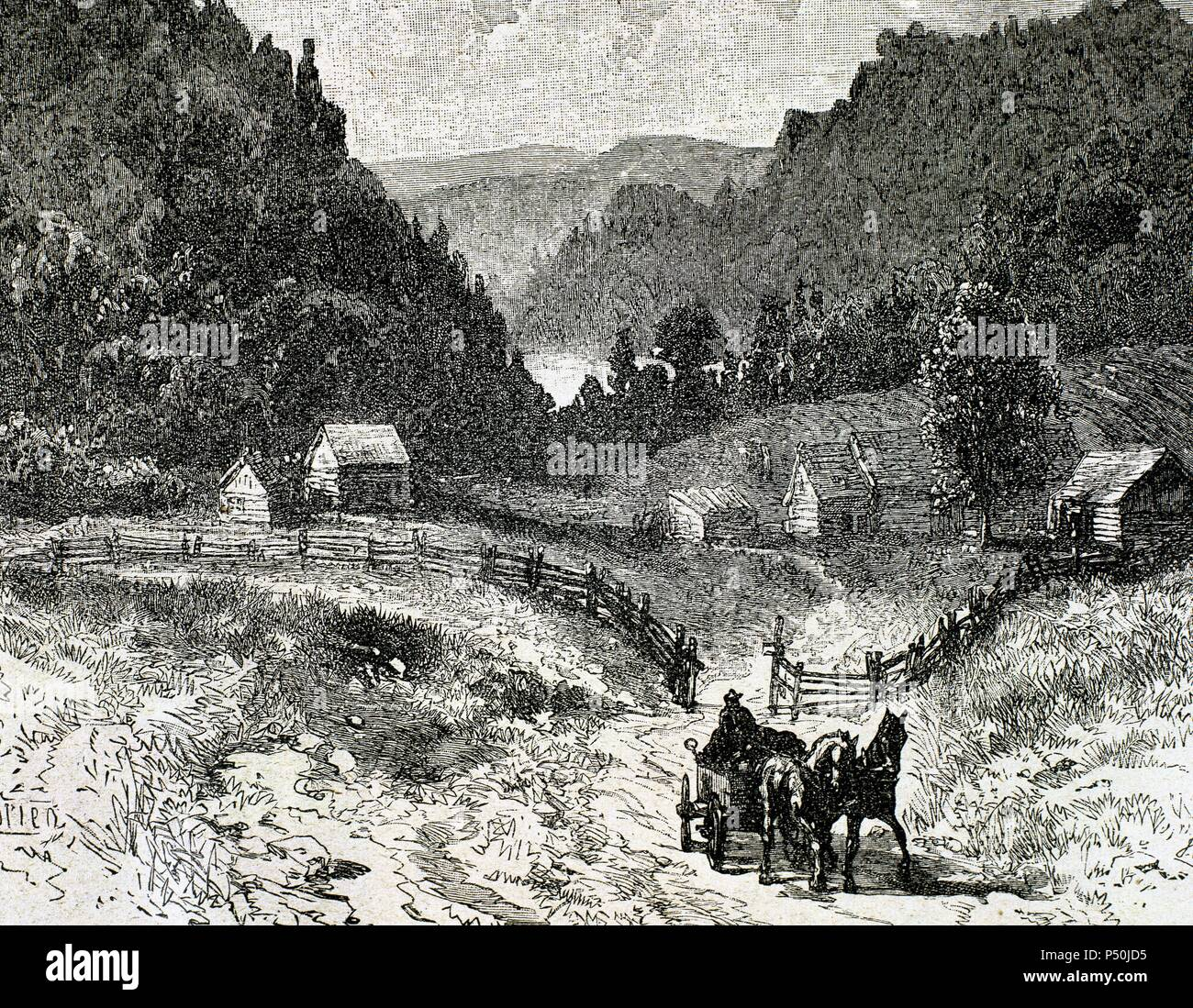 Canadian landscape in the eighteenth century. Nineteenth-century engraving. - Stock Image