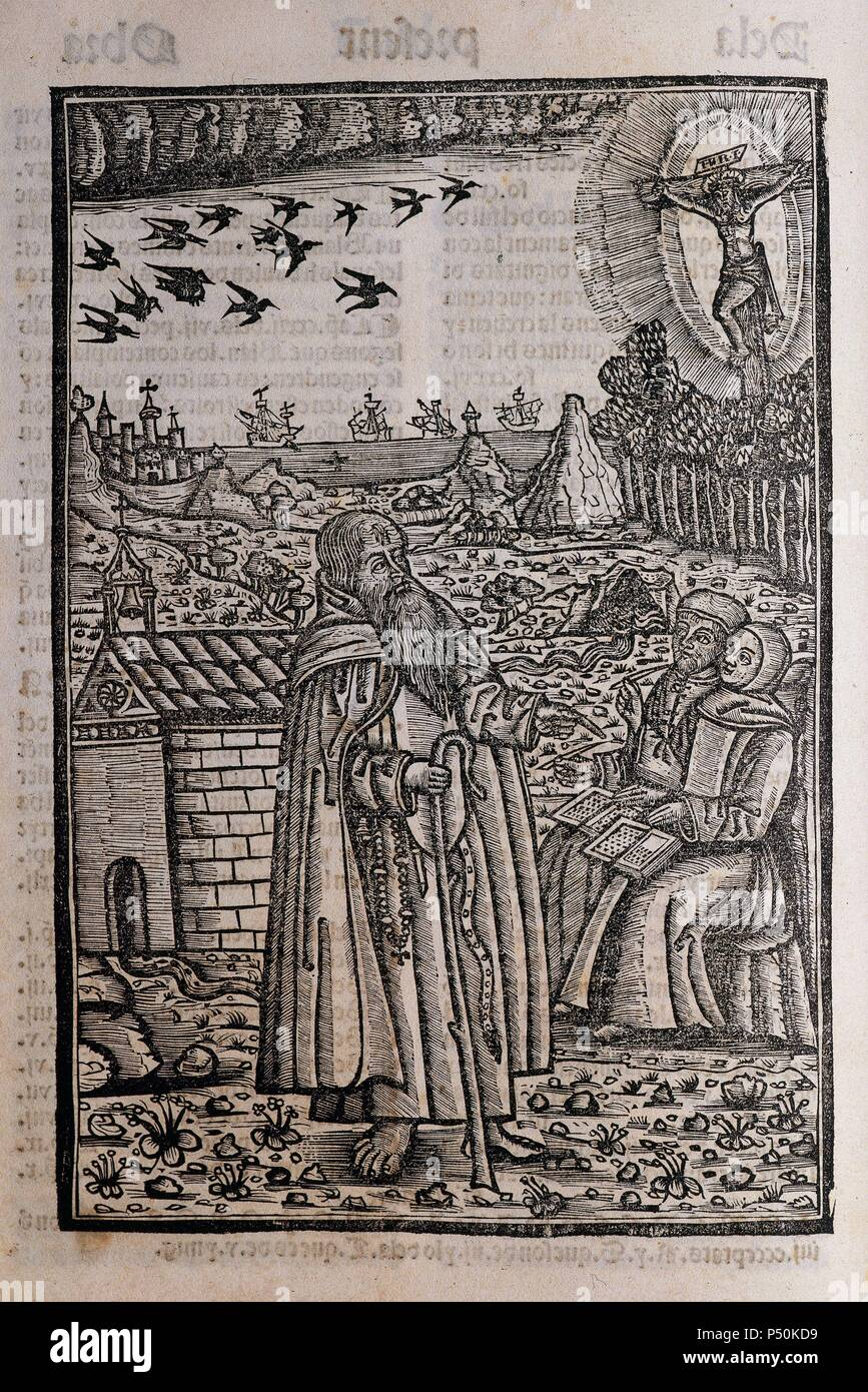 Ramon Llull (1235-1316). Spanish writer and philosopher. Blanquerna, ca. 1293. Engraving depicting Ramon Llull preaching or talking to two people or disciples. - Stock Image
