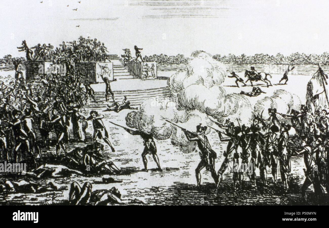 French Revolution (1789-1799). Champ de Mars Massacre (July 17, 1791). Anonymous etching of the time. Stock Photo