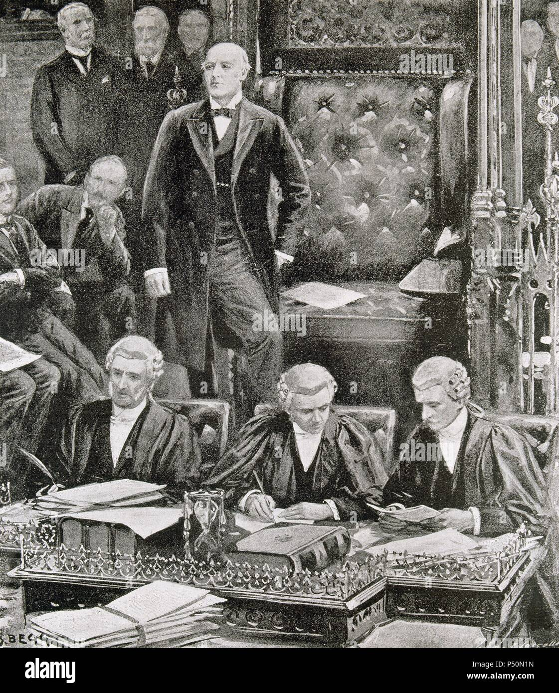 History of England. 20th century. Opening session of the British Parliament. M. Gully thanking the members of Parliament before taking a seat in the Presidency. Engraving 'The Spanish and American Illustration,' 1900. - Stock Image