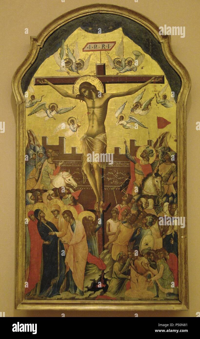 BYZANTINE ART. GREECE. ICON with the crucifixion scene. Attributed to the circle of the Venetian painter Paolo Veneziano. Mid-fourteenth century. Byzantine Museum. Athens. - Stock Image