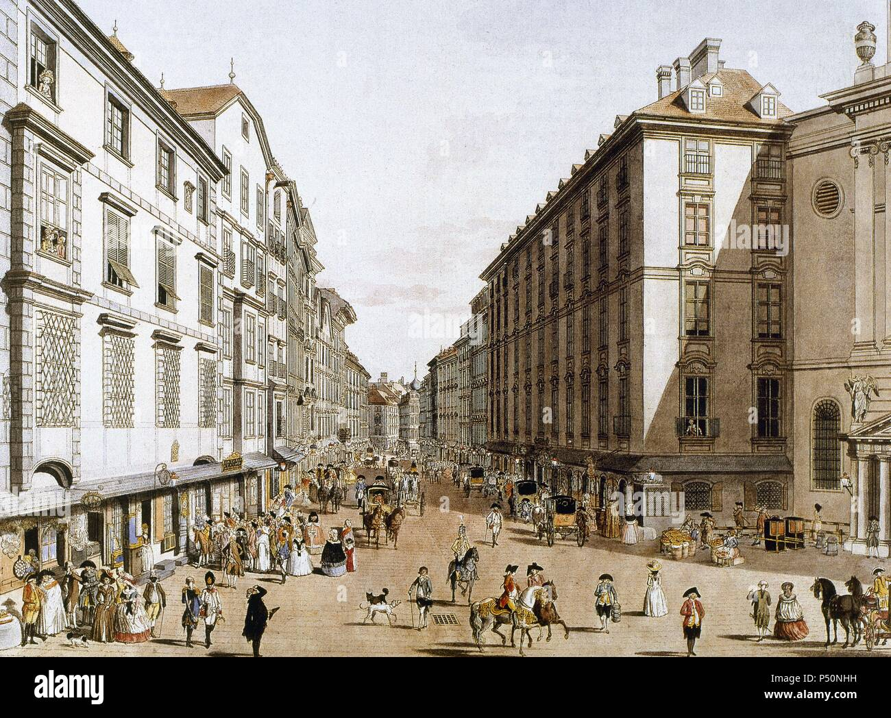 Austria. Vienna. Kohlmarkt Street. 1786. Engraving. Colored. - Stock Image