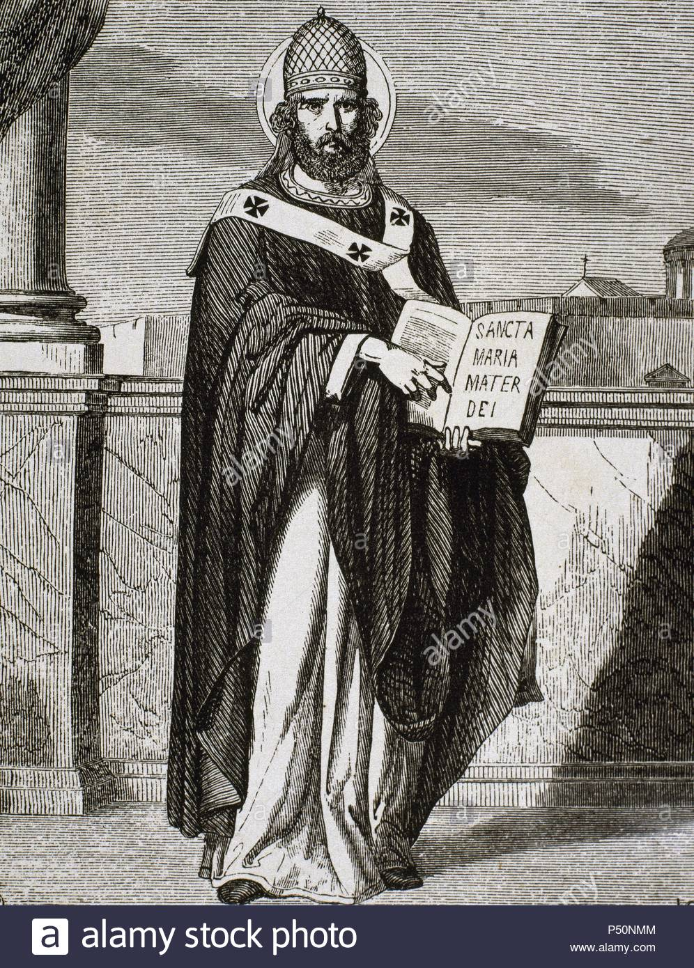 Saint Celestine I. Italian Pope from 422 until 432. Engraving by Carretero. - Stock Image