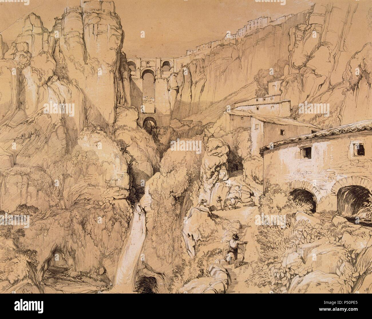 Spain. Ronda. The New Bridge at The Tajo Canyon. Litography by John Frederick Lewis. London, 1834. - Stock Image