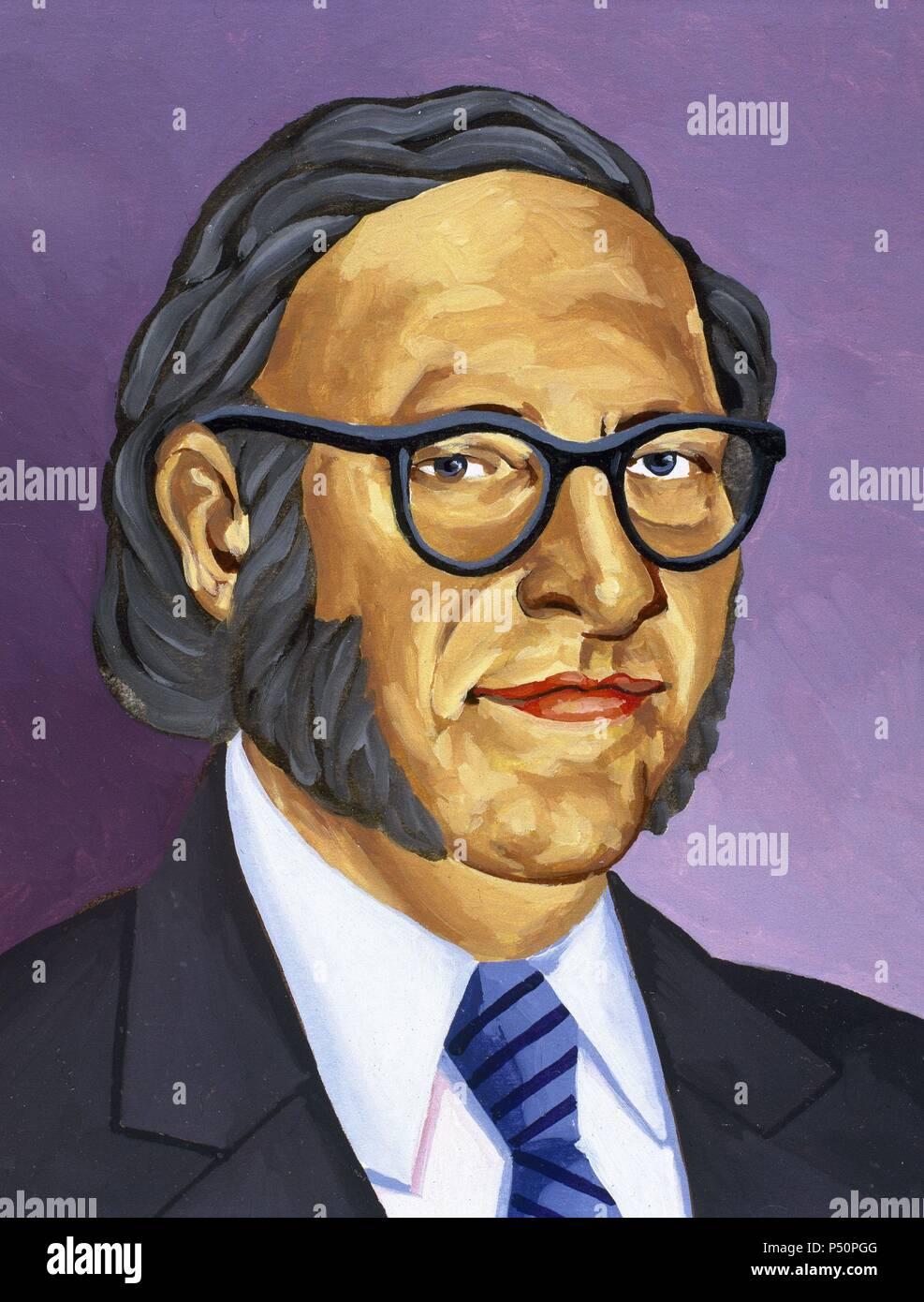Isaac Asimov (1920-1992). American writer of Russian origin. Colored drawing. - Stock Image