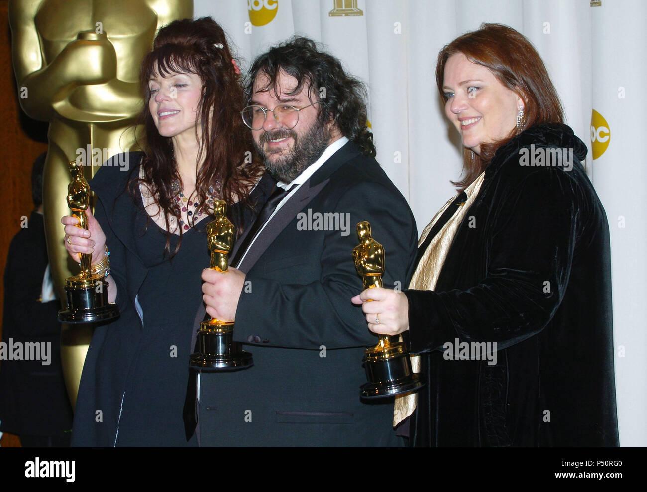 Fran Walsh Philippa Boyens and Peter Jackson backstage at
